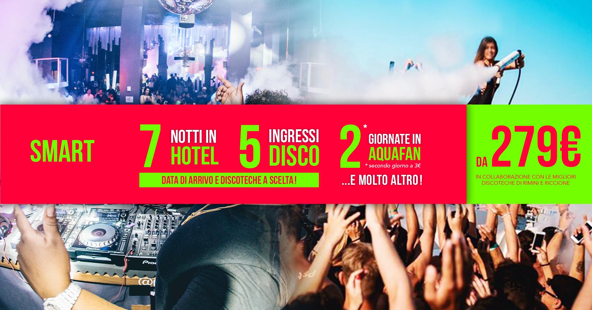 Pacchetto settimanale riccione hotel + discoteche smart