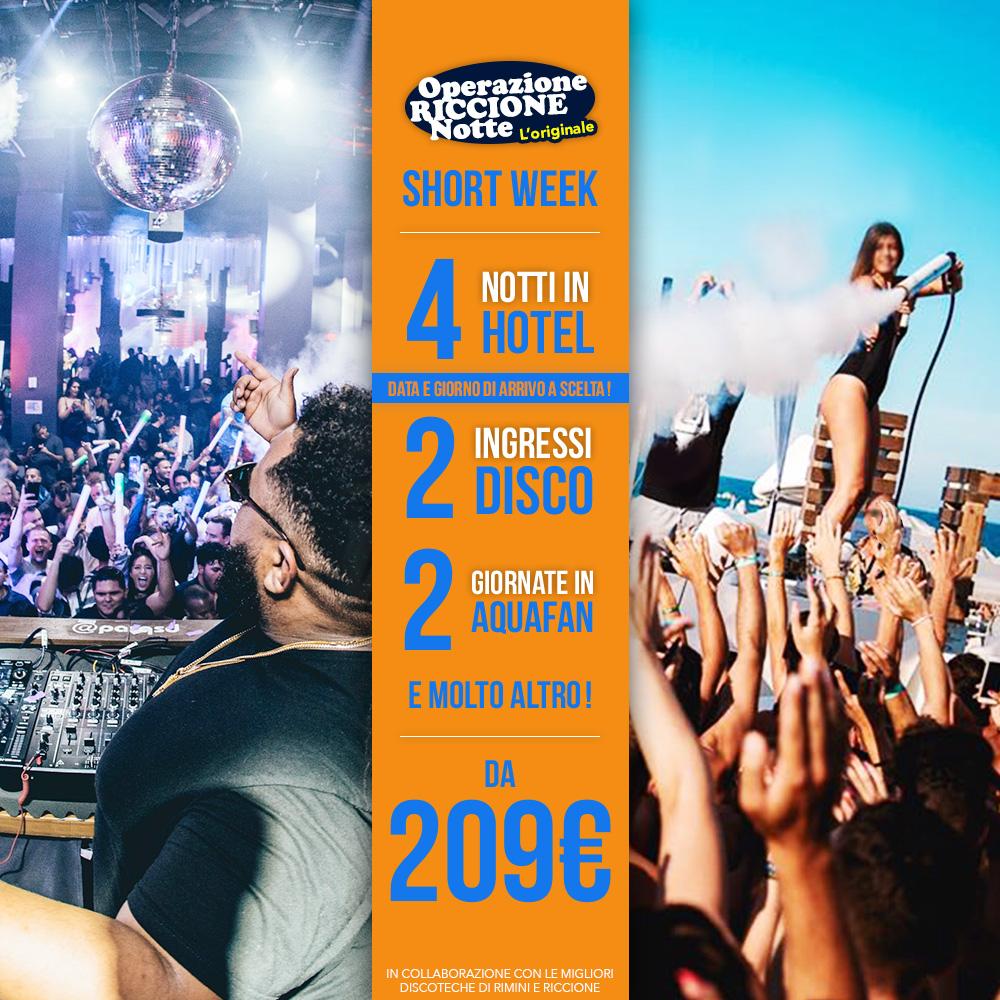 pacchetto 5 notti riccione hotel + discoteche shortweek
