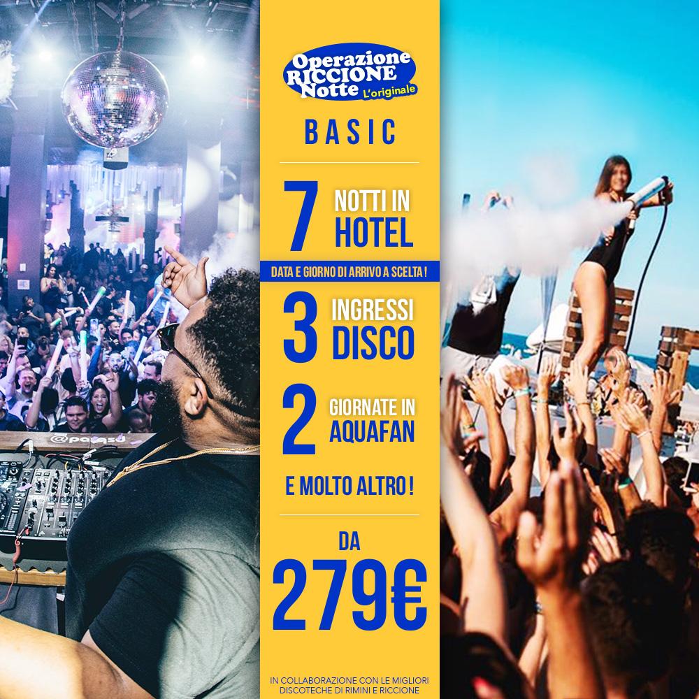 Pacchetto Settimanale Basic – ( Hotel + 3 Ingressi Disco )