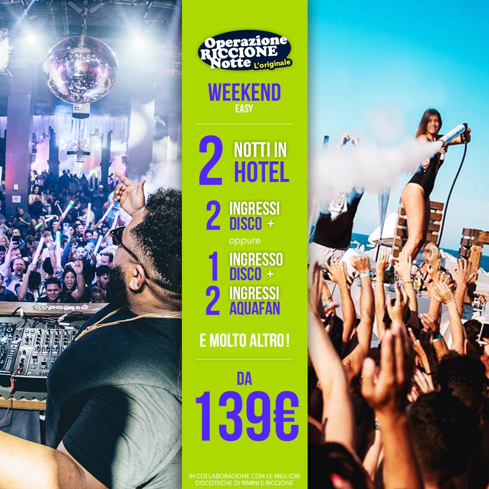 pacchetto weekend riccione hotel + discoteche easy